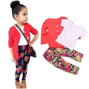 1Set Kid Toddler Girl Floral Long Sleeve T-Shirt Tops+Coat+Pant<wbr/>s Clothes Outfits