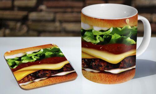 Burger Print Junk Food Tea Coffee Mug Coaster Gift Set