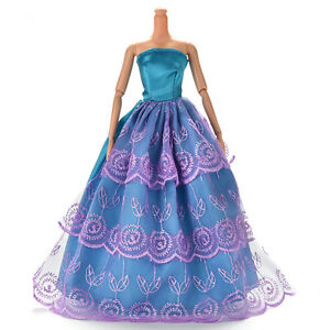 Dress-for-s-Wedding-Dress-Doll-Beautiful-Net-Yarn-Dress-Blue-and-Purple-WRD