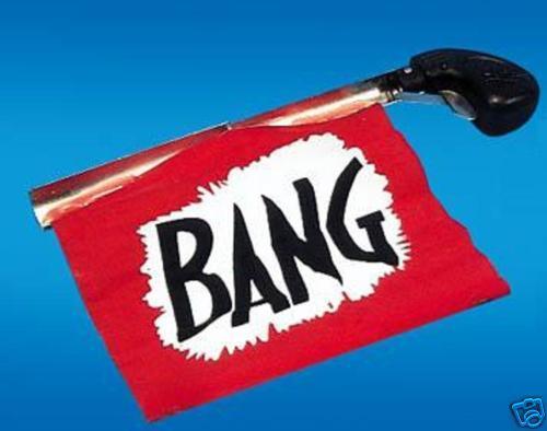 COMEDY BANG GUN WITH BANG FLAG JOKE GAG