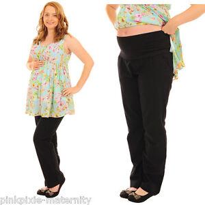 Maternity Pregnancy Linen Trousers Pants Over Bump size 8 10 12 14 16 18 Black