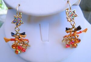 Kirks-Folly-Witches-Brew-Leverback-Earrings-Goldtone-Halloween