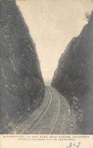 RPPC-Bloomer-Cut-Near-Auburn-CA-Railroad-Tracks-1907-Vintage-Postcard