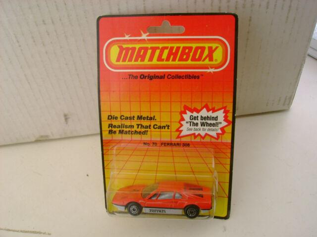 1983 MATCHBOX SUPERFAST #70 RED SILVER/GRAY 308 FERRARI NEW ON DAMAGED CARD