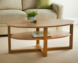 Oak Finish Oval Shaped Coffee Table