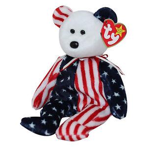f9fb21d3adf Ty Beanie Baby Spangle - MWMT (Bear White Head 1999) Patriotic