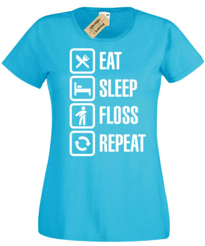 EAT SLEEP FLOSS REPEAT T-Shirt funny Womens dance battle ladies flossing top