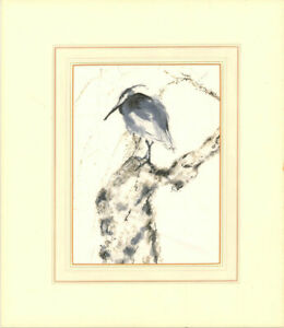 V. Carter - Contemporary Pen and Ink Drawing, Perched Heron