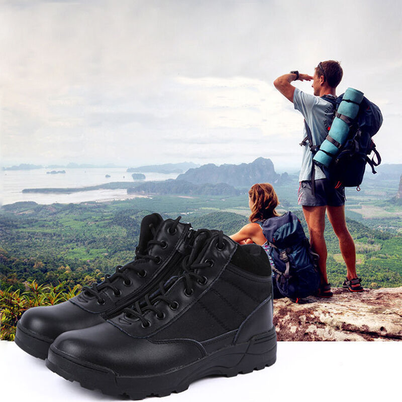 Men's Outdoor leather Hiking Battle shoes Tactical Army Boots Rubber non-slip