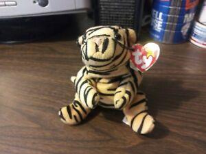 TY Original Beanie Baby - Stripes the Tiger (Orange and Black) - 1995 - Retired