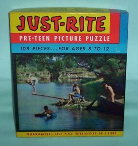 Vintage-60-039-s-Fairchild-Just-Rite-Pre-Teen-Picture-Puzzle-Swimming-Hole-Complete