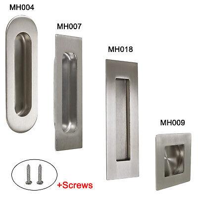 Sliding Door Handle >> Flush Recessed Finger Pulls Sliding Door Handles Stainless Steel Oval Square Ebay
