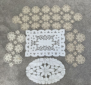 Vintage Cloth Linen Dresser Scarf Embroidered Ivory White Doily Lot Doilies Lace