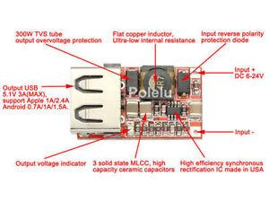 dc dc buck voltage converter 6v 24v 12v to 5v 3a car usb. Black Bedroom Furniture Sets. Home Design Ideas