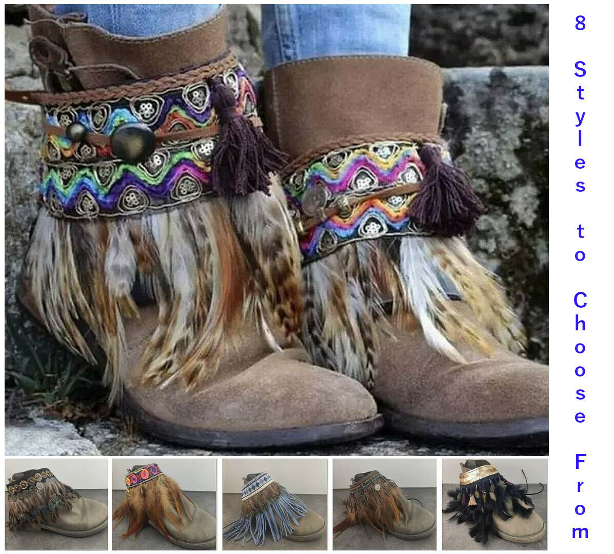 Cowboy Indian Style Boot Bling Decorations Ankle Anklet Bracelets Jewelry Strap