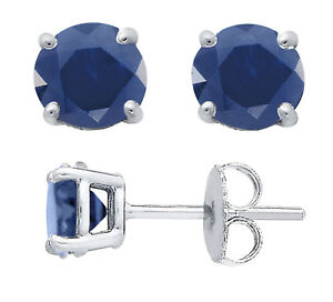 dc5409662 Details about Genuine Blue Sapphire Basket Set Sterling Silver Stud  Earrings, Round 3,4 or 5mm