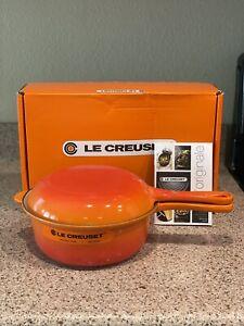 Le-Creuset-2-pc-Multifunction-Pan-Set-2-5-qt-Saucepan-plus-skillet-lid-FLAME