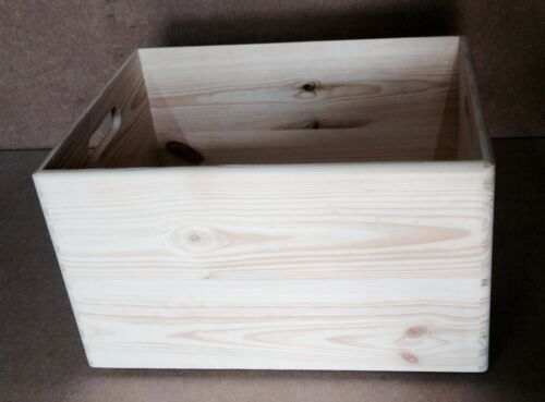 * Open wooden storage crate 40x30x23cm DD166 trunk store box toys beads art W