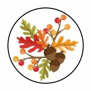 """48 FALL ACORNS LEAVES BERRIES ENVELOPE SEALS LABELS STICKERS 1.2"""" ROUND"""