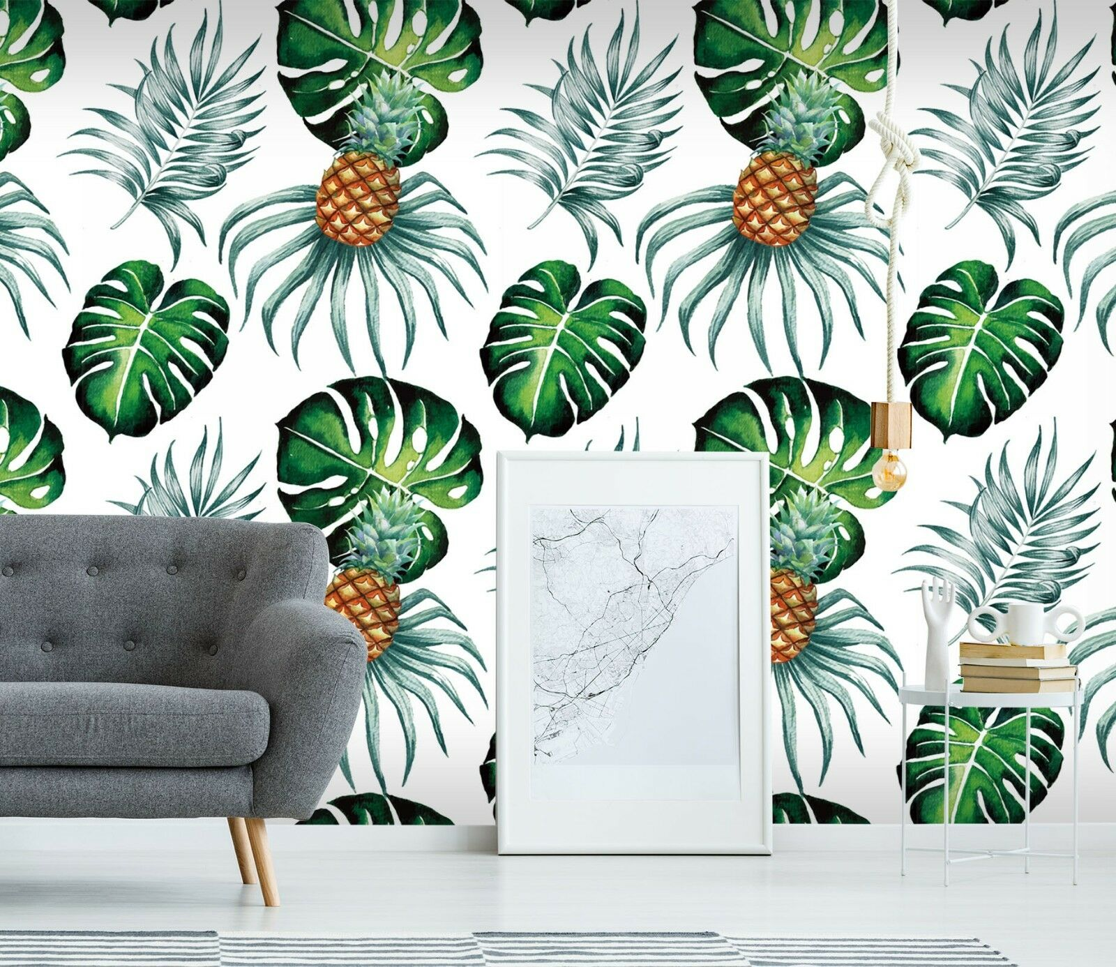 3D Pineapple Leaf 2 Wallpaper Mural Print Wall Indoor Wallpaper Murals UK Summer