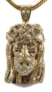 Mens iced out 14k gold finish jesus piece hip hop pendant 36 image is loading mens iced out 14k gold finish jesus piece aloadofball Image collections