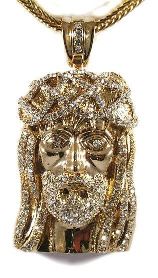 "MENS ICED OUT HIP HOP 14K GOLD PLATED JESUS FACE PENDANT WITH 36"" FRANCO CHAIN"