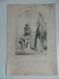 Grabado Fisonomía de Paris Lito Bauger Aubert Juego Caricatura Travies N º 3