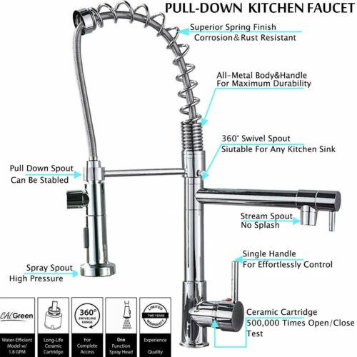 Küchenarmatur 360° Drehbarer Wasserhahn Küche Weichschlauch Kaltes Heißes Chrom