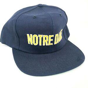 Vintage-Notre-Dame-Combattimento-Irlandese-Snapback-Cappello-Blu-Navy-Giallo