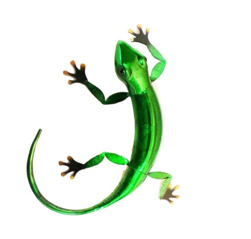 Metal Gecko Lizard Garden Wall Art Choice Of 3 Different Colours Red Blue Green