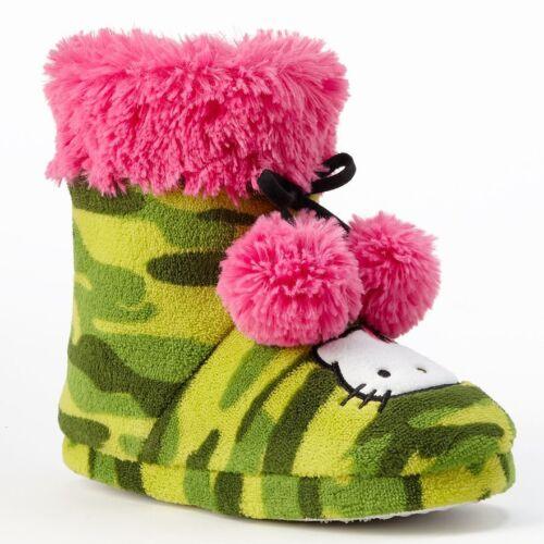 New HELLO KITTY Girls High Top Bootie Slippers Camo Print Pink Fur Sz 11-12