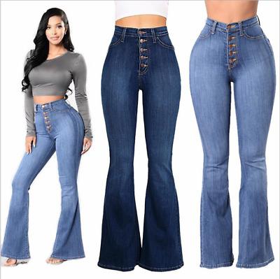 Women Wide Leg Pants Mujer Moda Boton Jeans Pantalones De Talle Alto Femeninos Ebay