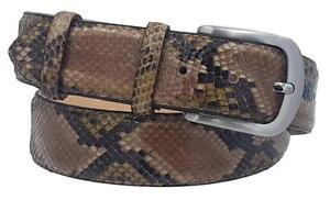in arrivo bellissimo aspetto sfoglia le ultime collezioni Dettagli su Cintura in Pitone 4 cm lucido unisex Foderata in pelle Bovina  con fibbia
