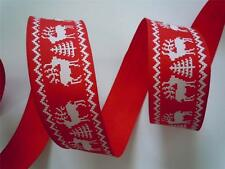 5yds Nordic Reindeer Wired Ribbon Red White Christmas Tree Craft Wreath Gift Bow
