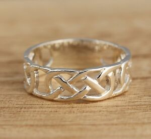 Interlocking Knot Ring Band Thumb Ring Solid 925 Sterling Silver