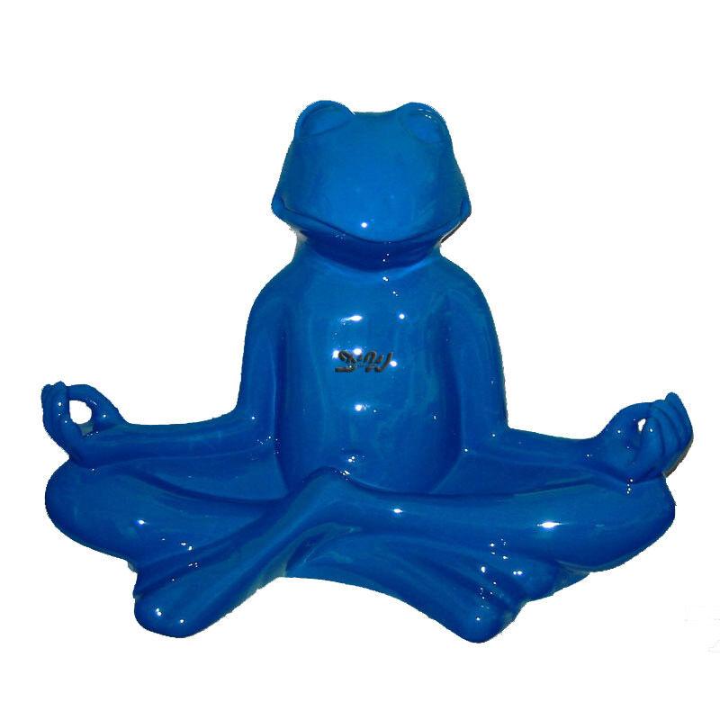 YOGA FROSCH BLAU RELAX LOTUSSITZ Garten Deko Figur FENG SHUI MEDITATION