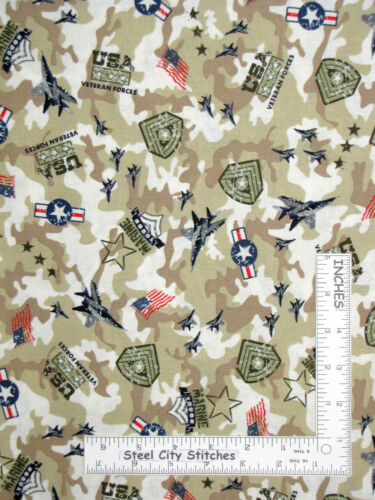 USA Military US Marines Marine Tough Veterans Cotton Fabric Santee By The Yard