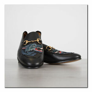 GUCCI-830-Authentic-New-Black-Leather-Loafer-With-Wolf-amp-Foldable-Hele