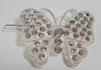 2 Large Silvertone Butterfly Crystal Barrett Or Clip In Hair Or Many Items