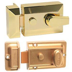 Image is loading FRONT-DOOR-LOCK-NIGHTLATCH-Brass-Gold-Security-Deadlock-  sc 1 st  eBay & FRONT DOOR LOCK NIGHTLATCH Brass/Gold Security Deadlock Bolt ...