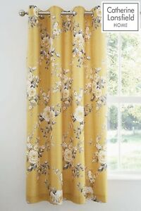 Catherine-Lansfield-Canterbury-Black-Out-Floral-Eyelet-Curtains-Ochre