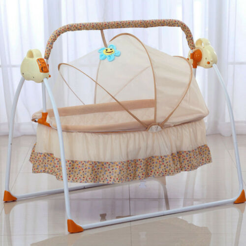 Big Space Electric Baby Crib Cradle Infant Rocker Auto-Swing Sleep Bed Cots Khak