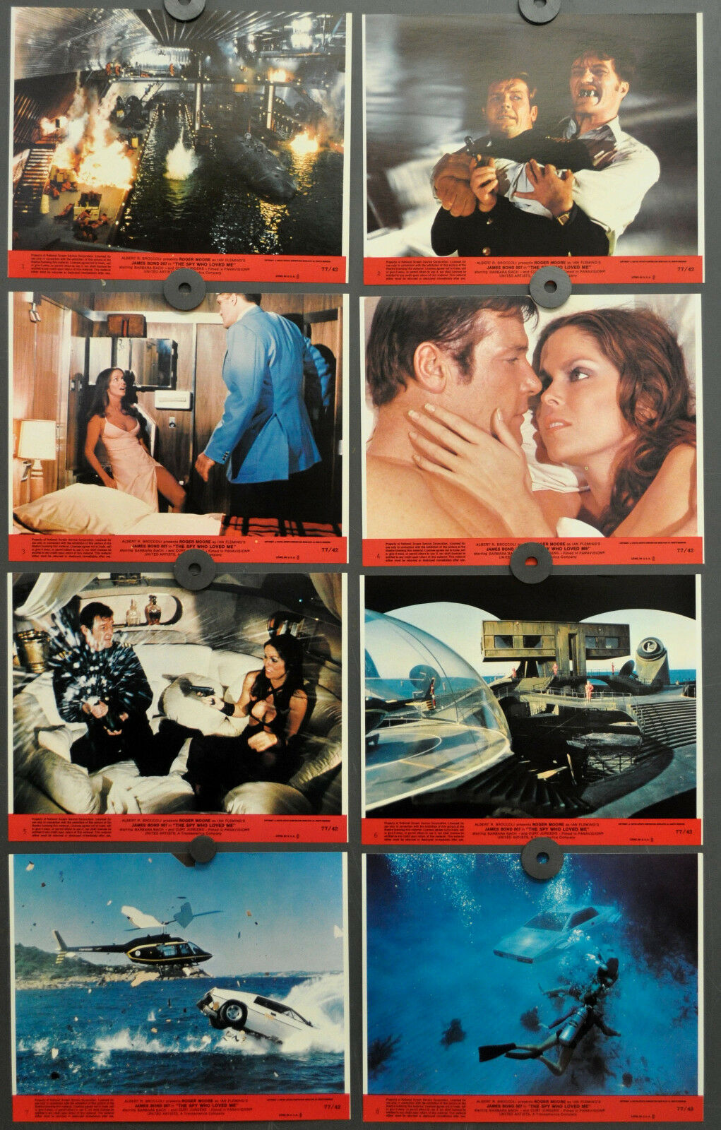 Spy Who Loved Me 1977 Orig Lobby Karte Set 8X10 Bond Roger Moore Barbara Bach