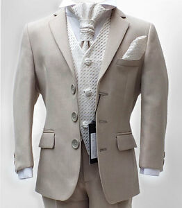 Boys-Formal-Wear-5-PC-Beige-Ivory-Suits-Pageboy-Wedding-Party-Prom-Kids-Suit
