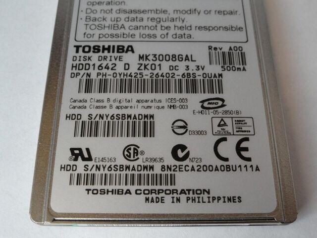 """Toshiba / Dell - MK3008GAL - 30GB 4200 RPM ZIF 1.8"""" Hard Drive"""