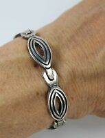 """Vintage Early Taxco Mexico Signed JS 925 Sterling Silver Link Bracelet 7"""" Length"""