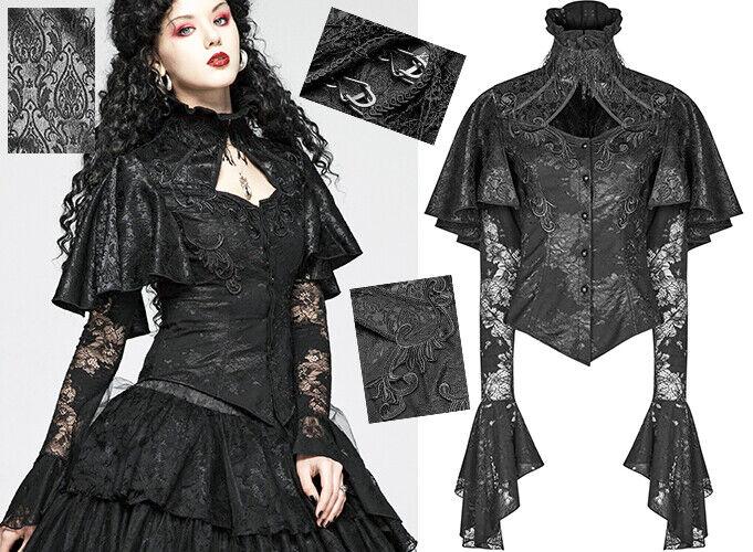 Chemise cape jacquard dentelle gothique baroque victorien brodé corset PunkRave