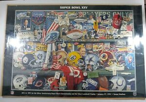 VINTAGE-NFL-SILVER-ANNIVERSARY-36-x-24-SUPER-BOWL-XXV-POSTER-RARE-No-pin-holes