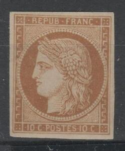 FRANCE-YVERT-SCOTT-1-034-CERES-10c-YELLOW-BISTRE-1850-034-MNH-VVF-SIGNED-P031