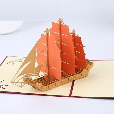 3D Pop Up Greeting Cards Ancient Sail Ship Carrack Carraca Nao AU SHOP